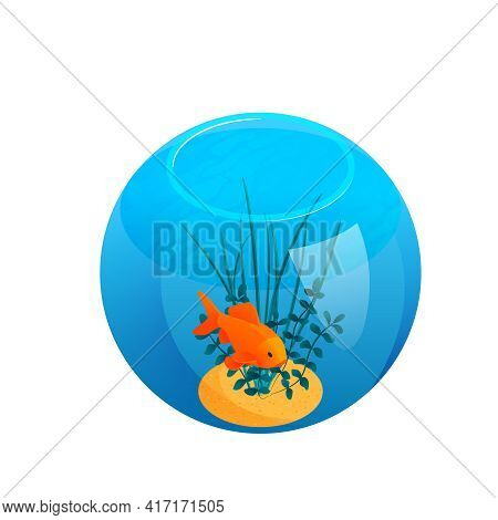 Isometric Aquarium Composition With Isolated Image Of Ball Shaped Aquarium With Sea Weed And Orange
