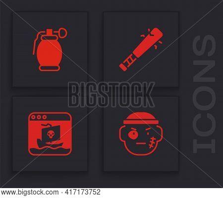 Set Bandit, Hand Grenade, Baseball Bat With Nails And Internet Piracy Icon. Vector