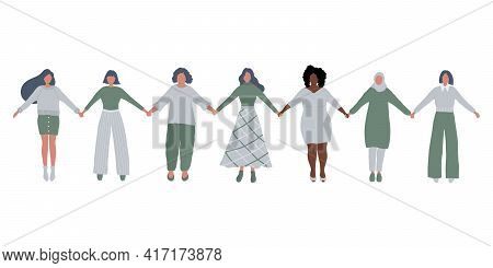 Women Are Holding Hands. International Women's Day Concept. Women's Community. Female Solidarity. Wo