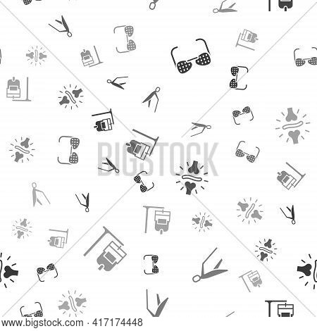 Set Blind Glasses, Human Holding Stick, Joint Pain, Knee Pain And Iv Bag On Seamless Pattern. Vector
