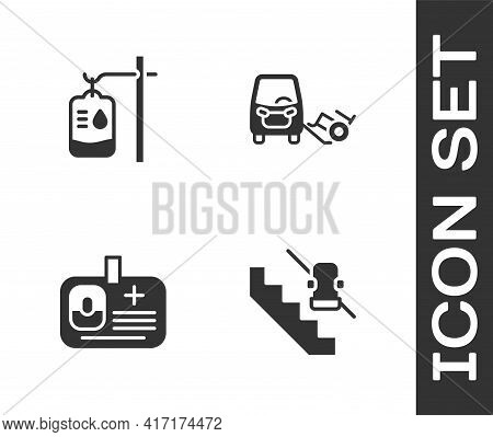 Set Disabled Elevator, Iv Bag, Identification Badge And Car Icon. Vector