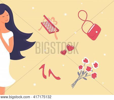 A Beautiful Girl Dreams Of A Date, Love And Romance. Against The Background Of Sweets, A Handbag, A