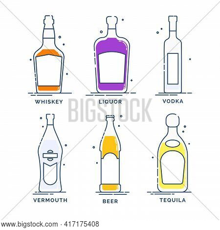Set Of Bottles Whiskey Liquor Vodka Tequila Vermouth Beer. Line Art Creative Graphic Element. Minima