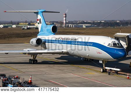 Budapest, Hungary - March 9, 2020: Malev Hungarian Airlines Tupolev Tu-154 Passenger Plane Resting A