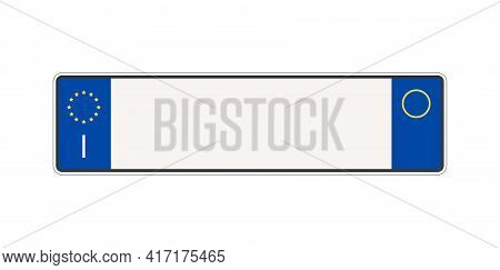 Italy Blank Car Plate Isolated On White Background. Italian Vehicle Registration Number. Vector Stoc
