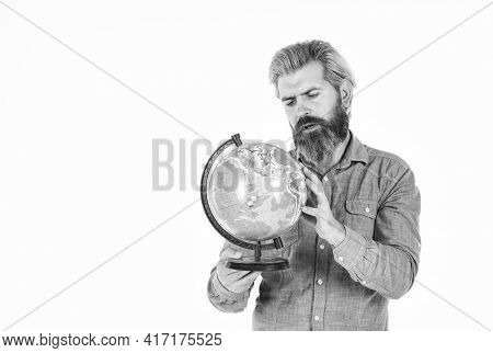 Pick Next Destination Point. Travel And Wanderlust. Bearded Man With Globe. Ecology Problem. Earth D