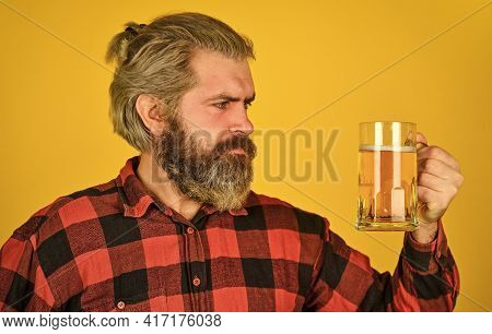 Adding Joy In Life. Mature Bearded Man Hold Beer Glass. Leisure And Celebration. Man Drinking Beer I