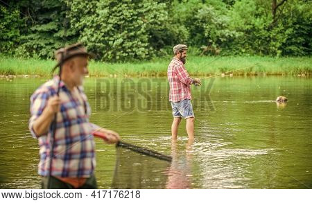Fisherman With Fishing Rod. Summer Vacation. Life Is Always Better When I Am Fishing. Activity And H