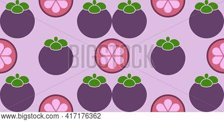 Mangosteen Slice Pattern Purple Background. Graphic Vector Illustration.