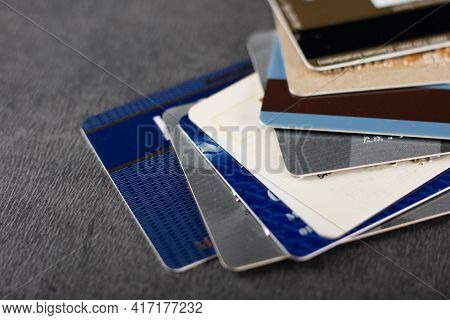 Bank Credit Cards Stacked On The Table.