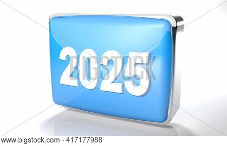 2025 Glossy Blue Box On White Background - 3d Rendering Illustration