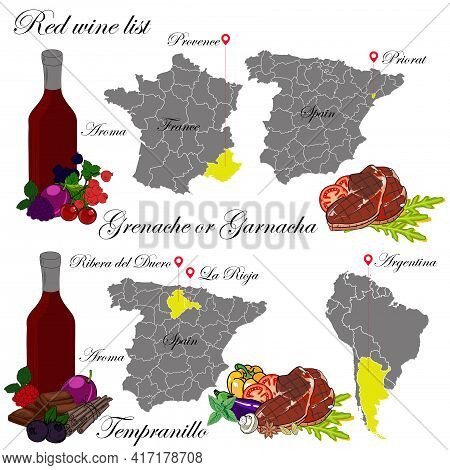 Grenache Or Garnacha And Tempranillo. The Wine List. An Illustration Of A Red Wine With An Example O
