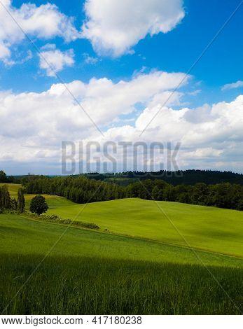 Beautiful View Of Hills And Meadows Of Wiezyca Region, Pomerania, Kashubia, Poland.