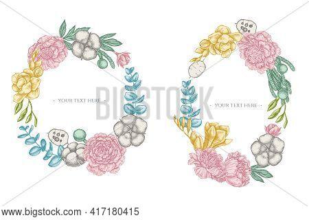 Floral Wreath Of Pastel Ficus, Eucalyptus, Peony, Cotton, Freesia Brunia Stock Illustration