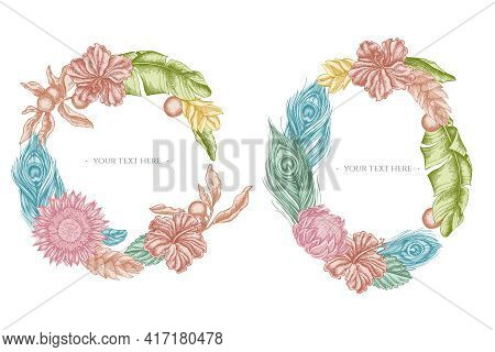 Floral Wreath Of Pastel Banana Palm Leaves, Hibiscus, Solanum, Bromeliad, Peacock Feathers, Protea S