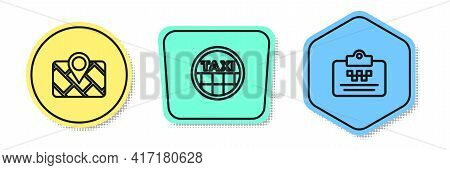 Set Line Gps Device With Map, Taxi Car Roof And Driver License. Colored Shapes. Vector
