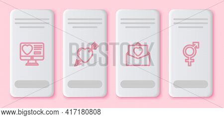 Set Line Dating App Online, Amour With Heart And Arrow, Envelope Valentine And Gender. White Rectang