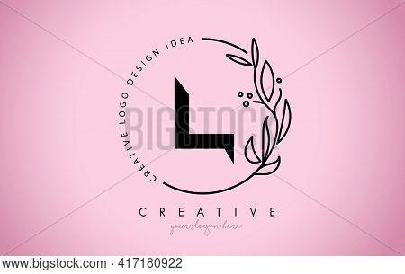 L Letter Floral Logo Design With Creative Elegant Leaf Monogram Branch Line Vector And Pink Black Co