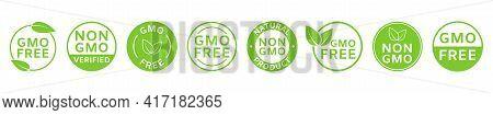 Non Gmo Labels. Gmo Free Icons. Healthy Organic Food Concept. No Gmo Design Elements For Tags, Produ