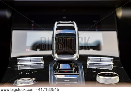 Close-up Of An Automatic Transmission Gearstick Of A Modern Premium Car. No People. Interior Of A Pr