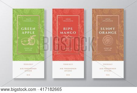 Home Fragrance Vector Label Templates Set. Hand Drawn Sketch Apples, Mango, Oranges And Flowers Back