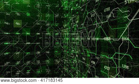 Connections And Numbers Inside Matrix. Animation. Set Of Numbers And Values On Background Of Cyberne