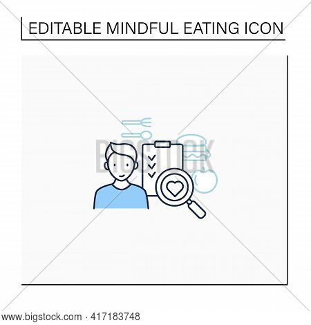 Mindful Shopping List Line Icon. Careful Food Selection. Shop Healthy Food. Conscious Nutrition. Hea
