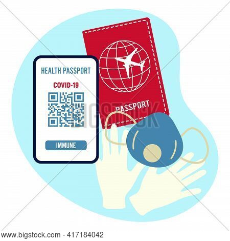Vector Illustration 2021 Travel Health Passport Mandatory Covid Test Medical Mask, Gloves New Normal