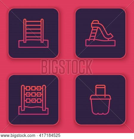 Set Line Swedish Wall, Tic Tac Toe Game, Kid Slide And Sand In Bucket. Blue Square Button. Vector
