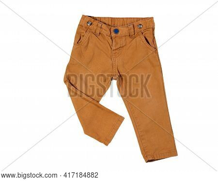 Little Brown Pants, Brown Pants Close Up Isolated On White Background