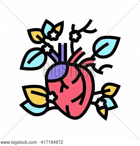 Blooming Heart Color Icon Vector. Blooming Heart Sign. Isolated Symbol Illustration