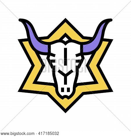 Skull Astrological Color Icon Vector. Skull Astrological Sign. Isolated Symbol Illustration