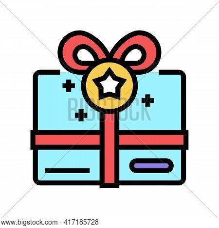 Present Box Bonus Color Icon Vector. Present Box Bonus Sign. Isolated Symbol Illustration
