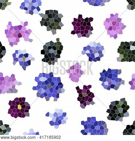 Abstract Flower Mosaic Background, Pink And Blue Violets Texture On White