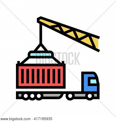 Crane Loading Container On Truck In Port Color Icon Vector. Crane Loading Container On Truck In Port