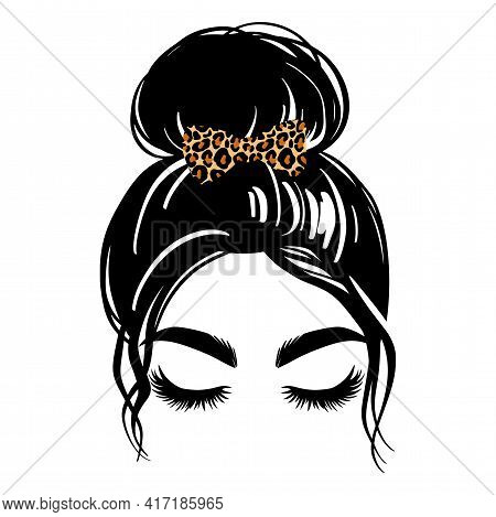 Messy Hair Bun, Vector Woman Silhouette. Beautiful Girl Drawing Illustration. Female Hairstyle. Hair