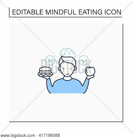 Mindful Eating Line Icon. Wiser Choices Of Products. Conscious Nutrition.healthy Food. Improve Relat