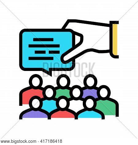 Speech On Forum Color Icon Vector. Speech On Forum Sign. Isolated Symbol Illustration