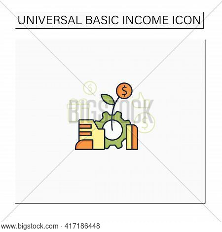 Economic Expansion Color Icon.increase In Economic Level Activity. Rise In Gdp. Universal Basic Inco