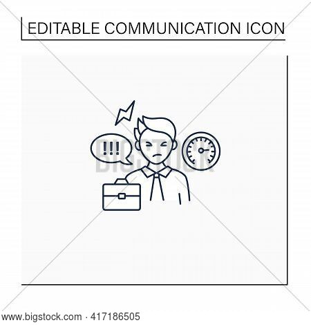 Ineffective Communication Line Icon.uncontrolled Emotions.stressful Situation. Emotional Overwhelmed