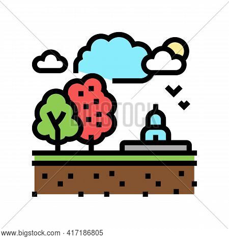 Recreational Land Color Icon Vector. Recreational Land Sign. Isolated Symbol Illustration