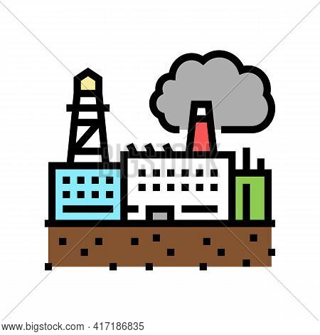 Industrial Zone Land Color Icon Vector. Industrial Zone Land Sign. Isolated Symbol Illustration