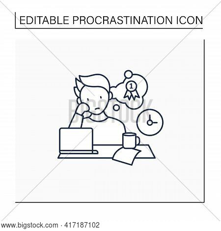 Procrastinator Dreamer Line Icon. Dream About Large, Unattainable Goals. Do Not Execute Scheduled Ta