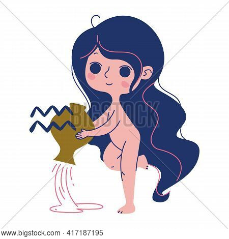 Aquarius Zodiac Sign Vector. Birthday Horoscope Aerial Element. Isolated Image Of A Naked Woman Who
