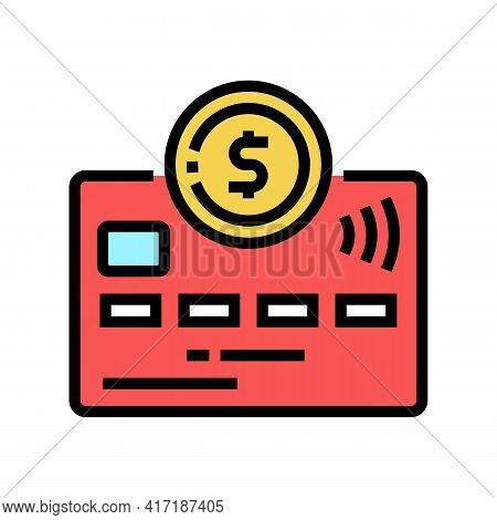Debit Electronic Money Card Color Icon Vector. Debit Electronic Money Card Sign. Isolated Symbol Ill