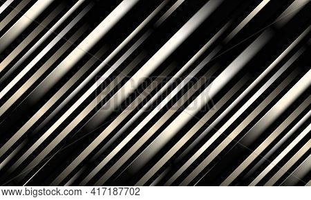 Dark Abstract Luxury Striped 3d Vector Background With Black Metallic Three Dimensional Shapes.