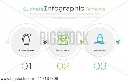 Set Line Hand Grenade, Thief Surrendering Hands Up And Lock Picks For Lock Picking. Business Infogra