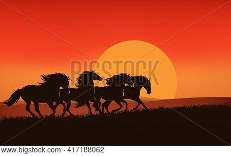 Wild Mustangs Running Across Sunset Prairie - Horse Herd Silhouette Against Setting Sun Vector Lands