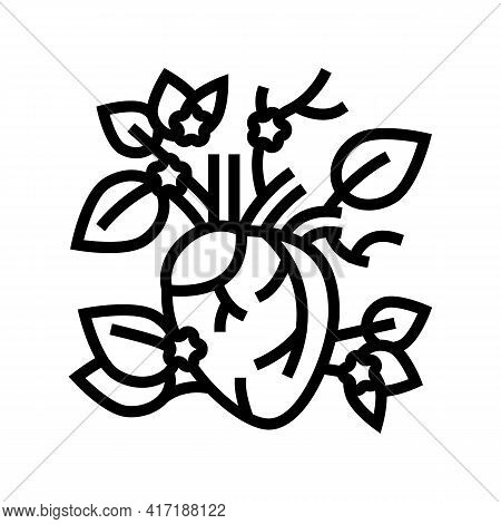 Blooming Heart Line Icon Vector. Blooming Heart Sign. Isolated Contour Symbol Black Illustration