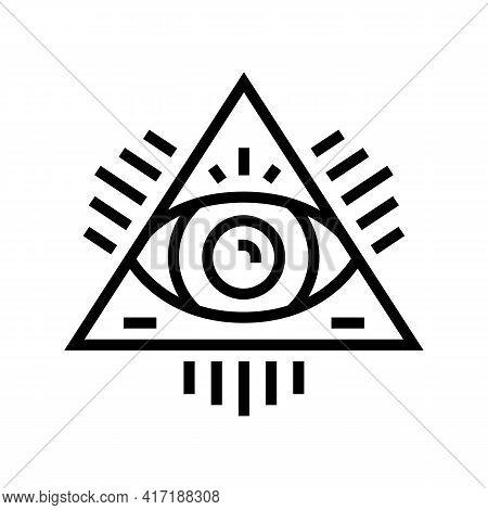 Medal Astrological Line Icon Vector. Medal Astrological Sign. Isolated Contour Symbol Black Illustra